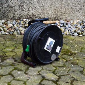 Sort kabel tromle - 10 meter - lej den hos vojens trailer udlejning